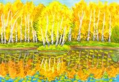 De herfst, het schilderen Stock Afbeelding