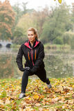 De herfst het uitrekken zich in park Royalty-vrije Stock Afbeeldingen