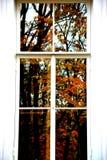 De herfst in het venster Stock Foto's