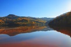 De herfst in het weerspiegelende water Stock Fotografie