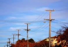 de herfst hued elektrische kabelpolen stock fotografie