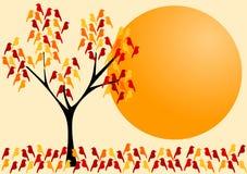 De herfst Kaart van de uitnodiging van de Boom van de Vogel vector illustratie