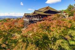 De herfst in Kiyomizu-Tempel, Kyoto, Japan Royalty-vrije Stock Foto's