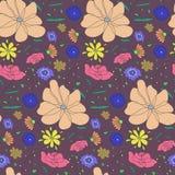 De herfst kleurt patroon met de bloemen van de schetskleur vector illustratie