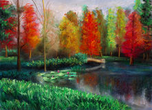 De herfst met kleur Stock Afbeelding