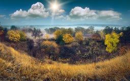 De herfst mistige vallei Royalty-vrije Stock Foto
