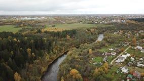 De herfst Mooi landschap van de rivier Luchesa stock videobeelden
