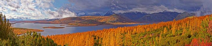 De herfst Na een regen Het meer van Jack London kolyma stock fotografie
