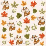 De herfst naadloos patroon met bladeren en eekhoorns stock illustratie