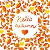 De herfst naadloos patroon met hand geschreven van letters voorziende HELLO-de bladerenachtergrond van de de HERFSTbinnenkant Stock Afbeelding