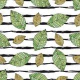De herfst naadloos patroon met moderne bladeren op strepentextuur vector illustratie