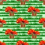 De herfst naadloos patroon met paddestoelen en gras Vector Illustratie
