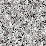 De herfst naadloos patroon van beeldverhaal leuk krabbels vector illustratie