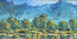 De herfst op de rivierbank, olieverfschilderij Stock Foto