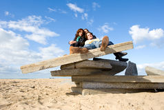 De herfst op het strand Stock Foto