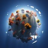 De herfst op kleine planeet Stock Fotografie