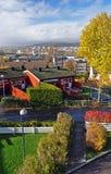 De herfst in Oslo Lindeberg met historische huizen stock foto's