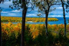 De herfst overziet, het park van de schiereilandstaat , Wisconsin Stock Foto