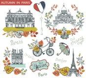 De herfst in Parijs Beroemde oriëntatiepunten en bloemen Royalty-vrije Stock Foto's