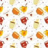 De herfst romantisch naadloos patroon met leuke koppen vector illustratie