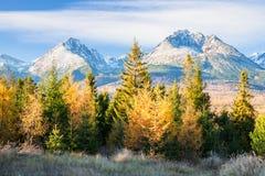De herfst in rotsachtige bergen Hoge Tatras, Slowakije Stock Foto