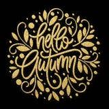 De herfst - schittert de Hand getrokken vectortypografie met het patroon van het lijnblad in gouden kleur Vector illustratie Royalty-vrije Stock Fotografie