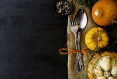 De herfst seizoengebonden lijst met pompoenen, lepels en vork, ruimte voor tekst, selectieve nadruk Stock Fotografie