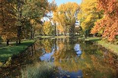 De herfst in Skopje-Stadspark Stock Foto's