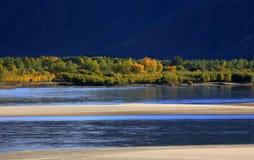 De herfst in Tibet Stock Afbeeldingen