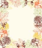 De herfst uitstekende achtergrond met bloemen vector illustratie