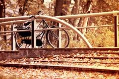 De herfst uitstekende fiets stock afbeelding