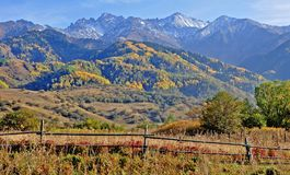 De herfst van de berg in Noord-Tien Shan Royalty-vrije Stock Foto