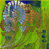 De herfst van de kunst bloemenkaart als achtergrond Stock Fotografie