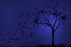 De Herfst van de silhouetnacht Royalty-vrije Stock Afbeelding