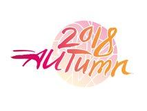 De herfst van 2018 Kalligrafieembleem tegen op de achtergrond van een heldere bont cirkel stock illustratie