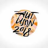 De herfst van 2018 Kalligrafieembleem tegen op de achtergrond van een heldere bont cirkel vector illustratie