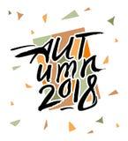 De herfst van 2018 De seizoengebonden abstracte geometrische Herfst van als achtergrond en inschrijvings 2018 stock illustratie