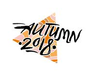 De herfst van 2018 Seizoengebonden embleem tegen op de achtergrond van een openwork patroondriehoek stock illustratie