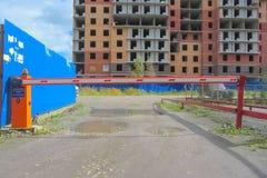 De herfst van 2016 van Rusland Nikol het gebruik van bouw verhindert elektrische poort Stock Afbeeldingen