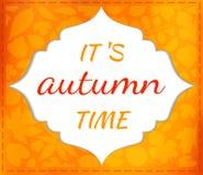 De herfst vector seizoengebonden kaart met bladeren Stock Fotografie