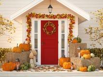 De herfst verfraaid huis met pompoenen en hooi het 3d teruggeven Stock Afbeelding
