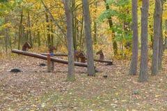 De herfst verlaten kinderjarenspeelplaats Royalty-vrije Stock Afbeeldingen