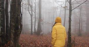De herfst vibes, draagt de mistige bos Aantrekkelijke donkerbruine vrouw met lang haar gele uitrusting en loopt over het bos stock video