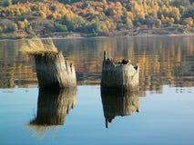 De herfst, Volga rivier, Vasilsursk stock foto's