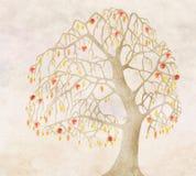 De herfst voor een oude appelboom royalty-vrije illustratie