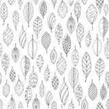 De herfst wit en zwart naadloos gestileerd blad Stock Foto