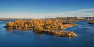 De herfst zonnig eiland Stock Afbeeldingen