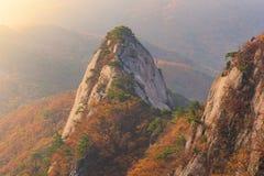 De herfst, zonsopgang van Baegundae-piek, Bukhansan-bergen in Seoel, stock afbeeldingen