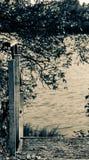 De herfstaard, meerlandschap met een kleine trap stock afbeelding