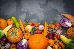 De herfstachtergrond: de herfstgroenten, vruchten, noten op een betonachtergrond stock foto